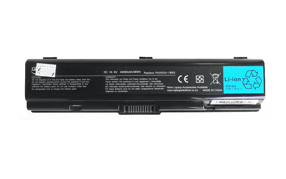 Repl. For TOSHIBA LAPTOP BATTERY PA3534U, 10.8V 4400mAh/ 48Wh ...